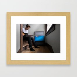 Simon playing his 50's Les Paul Framed Art Print