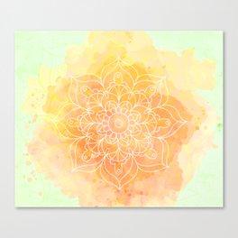 Watercolor Mandala // Sunny Floral Mandala Canvas Print