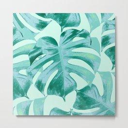 Tropical Monstera Leaves Dream #4 #tropical #decor #art #society6 Metal Print