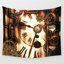 Steampunk, clocks and gears, vintage design Wall Tapestry