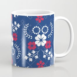 White And Red Flowers On Blue Coffee Mug