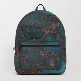 Antique Map Teal Blue and Copper Backpack
