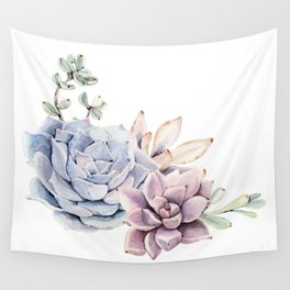 Pristine Succulents Blue and Pink Wall Tapestry