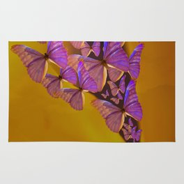 Shiny Purple Butterflies On A Ocher Color Background #decor #society6 Rug