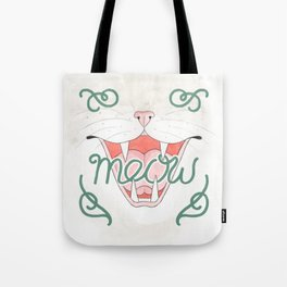 Cat's Meow // Illustration of Smiling Cat with Calligraphy Tote Bag