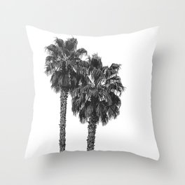 Dos Palmeras // Tropical Black and White Palm Tree Photography California Nature Ocean Vibes Throw Pillow