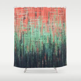 Coral Mint Navy Abstract Shower Curtain