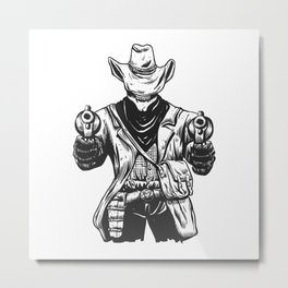 Wild cowboy skeleton - western skull cartoon Metal Print