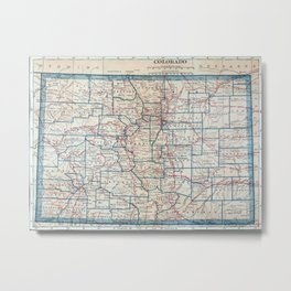 Vintage Map of Colorado (1921) Metal Print