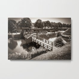 Bourtange, Bridge in Sepia (Bourtange - Groningen ; The Netherlands) Metal Print