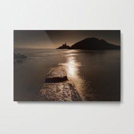 Mumbles lighthouse sunrise Metal Print