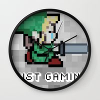 gaming Wall Clocks featuring JUST GAMING by EdgarGS