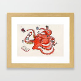 Olive the Octopus Barista Framed Art Print