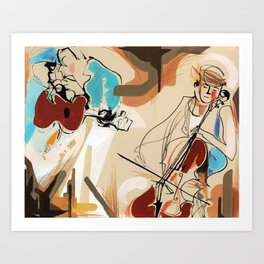 Cello and Guitar Player Musicians Painting Drawing Art Print