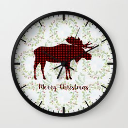 Winter Wreath Merry Christmas Red Buffalo Plaid Reindeer Wall Clock