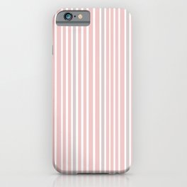 Pink Stripes & Grey iPhone Case