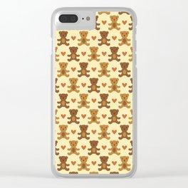 Teddy bear hearts Clear iPhone Case
