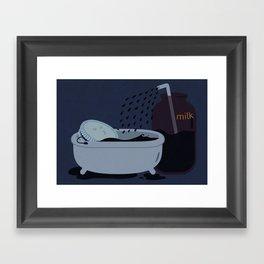 Let's take a milk bath! Framed Art Print