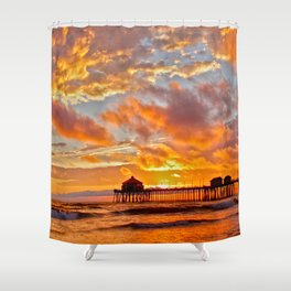California Dreaming (cropped) ~ Huntington Beach Pier Shower Curtain