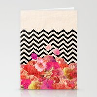 flora Stationery Cards featuring Chevron Flora II by Bianca Green