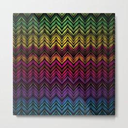 Neon Chevron Metal Print