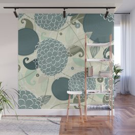 Abstract Floral Blue by Friztin Wall Mural