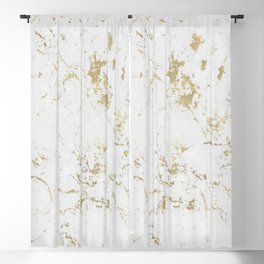 White and gold faux marble Blackout Curtain