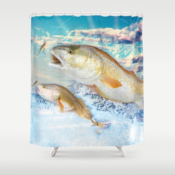 Red Fish Shower Curtain by applescruffs | Society6