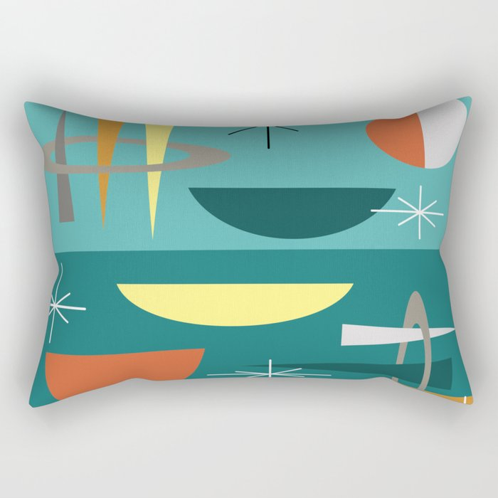 Turquoise Mid Century Modern Rectangular Pillow