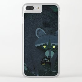 Radioactive Raccoon Clear iPhone Case