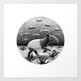 Tapirs can walk underwater | Black and White Illustration Art Print