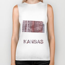 Kansas map outline Gray red clouded aquarelle Biker Tank