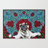 grateful dead Canvas Prints featuring Grateful Pug by Dark Lord Pug