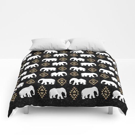 Elephant modern pattern print black gold glitter minimal with tribal influence gender neutral Comforters
