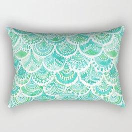 VENUS DE MER Aqua Mermaid Scales Rectangular Pillow
