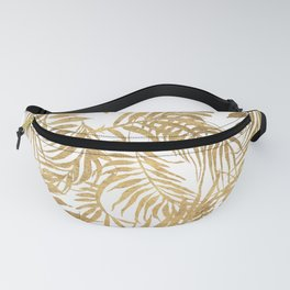 Elegant tropical gold white palm tree leaves floral Fanny Pack