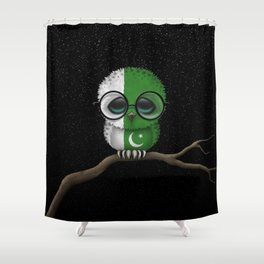 Baby Owl with Glasses and Pakistani Flag Shower Curtain