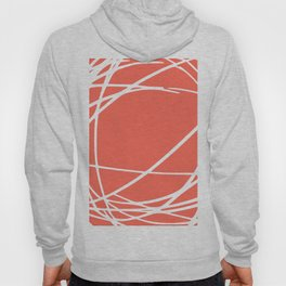 Striped Circles and Swirls, Living Coral, Abstract Hoody