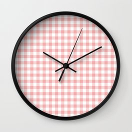 Lush Blush Pink and White Gingham Check Wall Clock