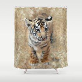 Tiger cub emerging Shower Curtain