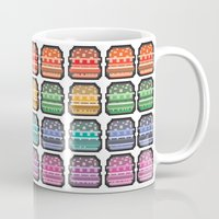 8bit Mugs featuring 8bit burger by thev clothing