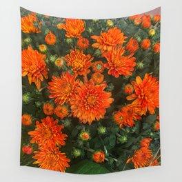 Orange Fall Mums Wall Tapestry