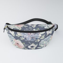 Beautiful Succulent Garden Navy Blue + Pink Fanny Pack