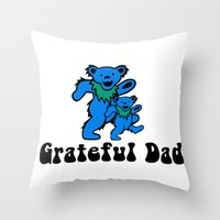 grateful dead Throw Pillows featuring Grateful Dad 2.0 by Grace Thanda