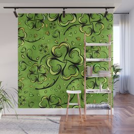Irish Shamrock Four-leaf Lucky Clover Pattern Wall Mural