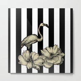 Stripe Flamingo Metal Print