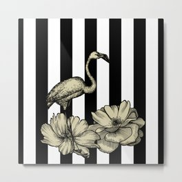 Stripes Flamingo Metal Print