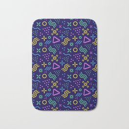Retro 80s Shapes Pattern Bath Mat
