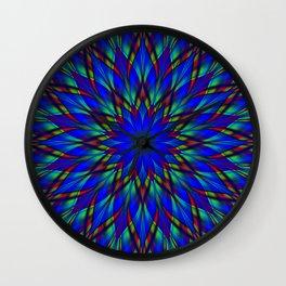 Stained glass flower mandala Wall Clock