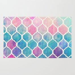 Rainbow Pastel Watercolor Moroccan Pattern Rug